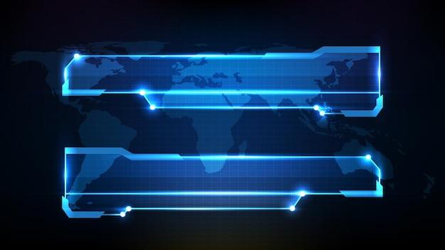 Абстрактный футуристический фон синей технологической научно-фантастической рамки, тема hud ui, нижняя третья панель кнопок