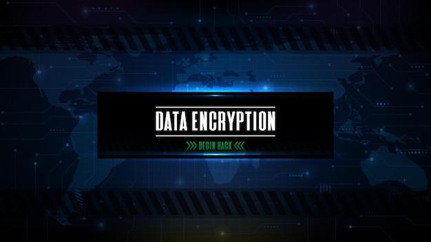 Абстрактный футуристический фон с синей технологией научно-фантастического взлома кнопки шифрования данных на экране пользовательского интерфейса