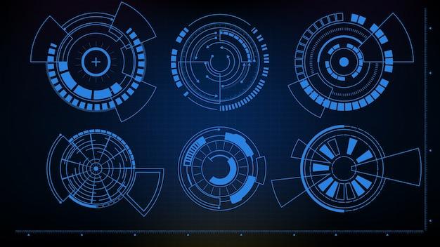 Абстрактный футуристический фон интерфейса научно-фантастической рамки круглая коллекция hud ui