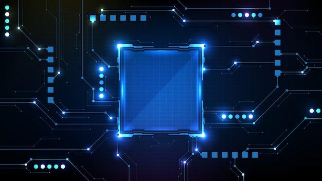 回路ラインとサークルインターフェイスsfフレームhuduiの抽象的な未来的な背景