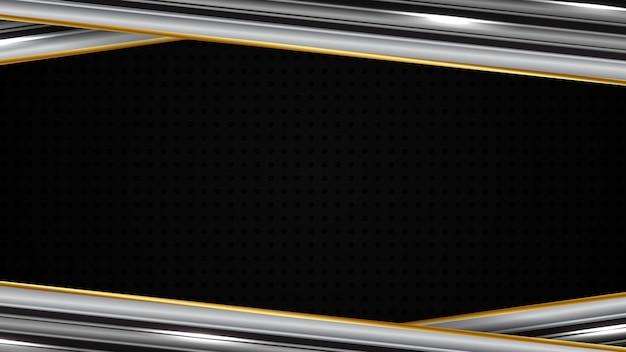 Абстрактный футуристический фон из геометрических фигур светящихся золотых и серебряных металлических линий движения