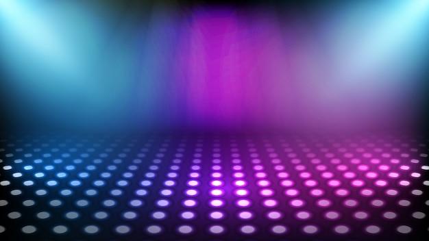 Абстрактный футуристический фон неоновые квадратные рамки и освещение прожектор фон сцены