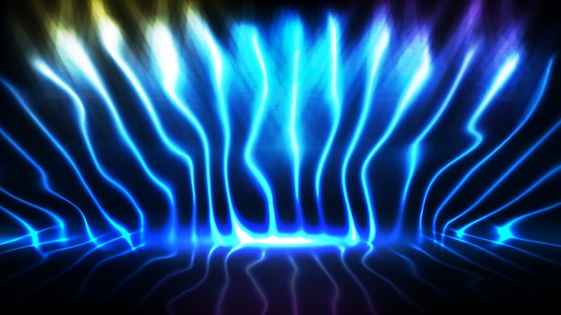 공상 과학 기술 빠르게 움직이는 네온 라인의 추상 미래 배경