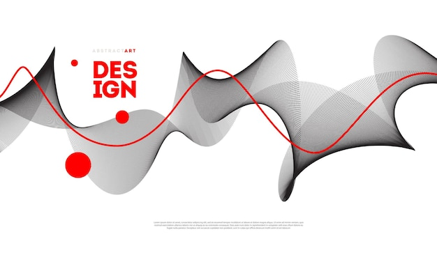 Abstract futuristic background poster with fluid wave shapes modern minimal design Premium Vector