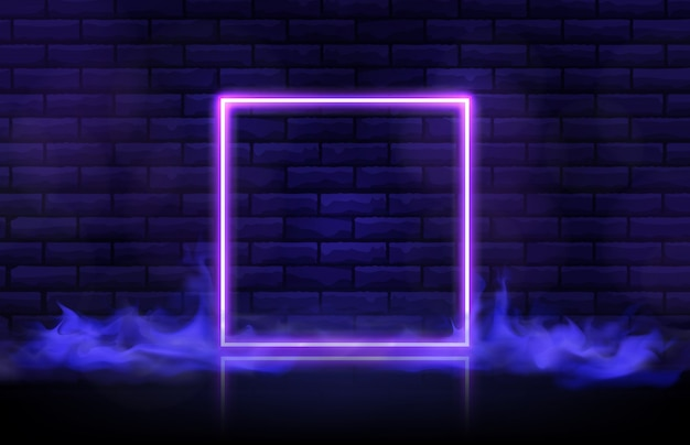 Abstract futuristic background of square neon frame and smoke