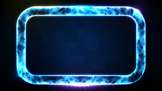 Abstract futuristic background of technology neon frame with smoke