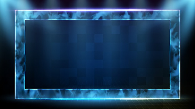 Abstract futuristic background of technology neon square frame with smoke and data sci fi hud hologram frame template
