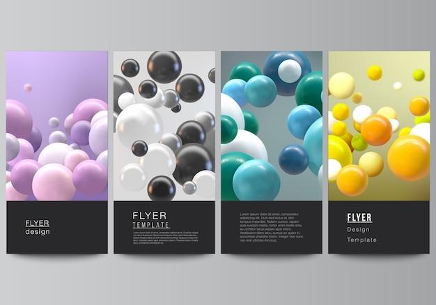 Абстрактный футуристический фон с красочными 3d сферами, глянцевыми пузырями, шарами.
