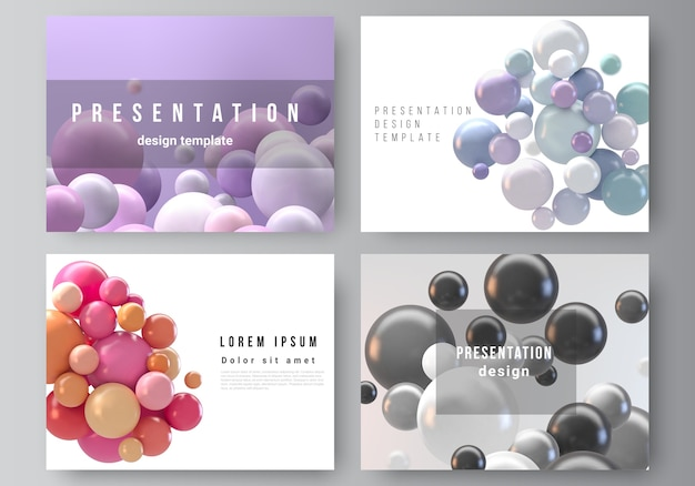Abstract futuristic background with colorful spheres, glossy bubbles, balls.