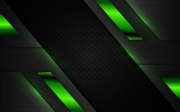 Абстрактный футуристический черный и зеленый игровой фон