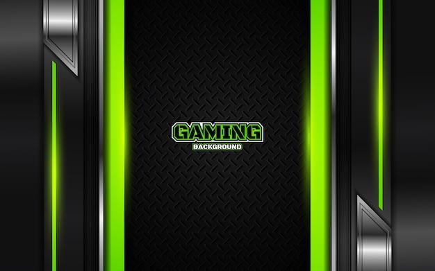 추상 미래의 검은 색과 녹색 게임 배경