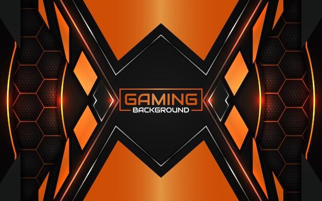 抽象的な未来的な黒とライトオレンジのゲームの背景