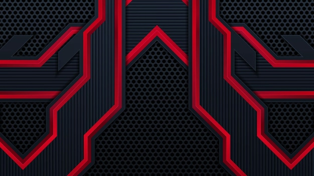 현대적인 e스포츠 모양을 가진 추상적인 미래의 검은색과 빨간색 게임 배경. 벡터 디자인 템플릿 기술 개념은 요소 게임 배너, 스포츠 포스터, 사이버 벽지, 웹, 광고를 사용할 수 있습니다.