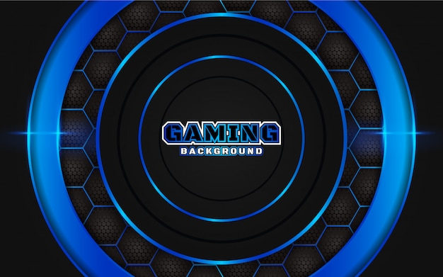 Abstract futuristic black and blue gaming background