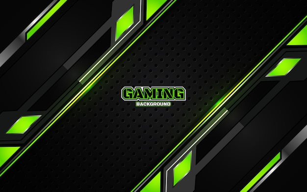 Abstract futuristic black and green gaming background