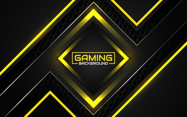 Abstract futuristic black and yellow gaming background