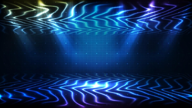 美しいスポットライト光線と輝くステージの抽象的な未来的な青い背景