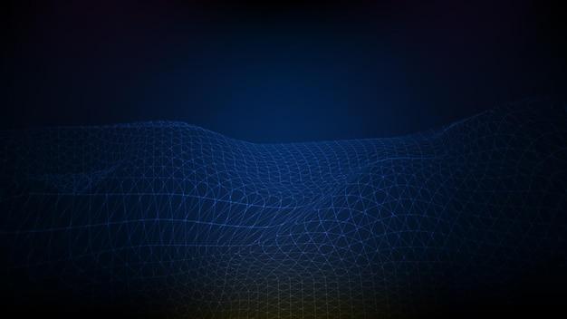 Абстрактный футуристический синий фон каркасный пейзаж, полигональные горы, технологический стиль системы карты потока данных