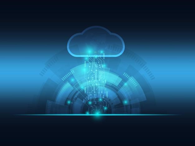 抽象的な未来的な青い雲とビッグデータ技術の背景