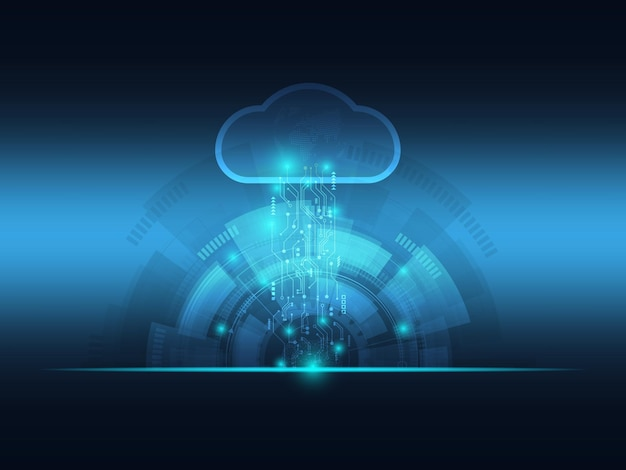 Abstract futuristic blue cloud and big data technology background