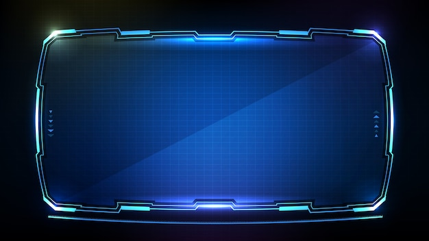 Abstract futuristic of blue glowing technology sci fi frame hud ui