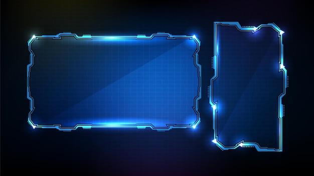 抽象的な未来的な青い光る技術sfフレームhudui