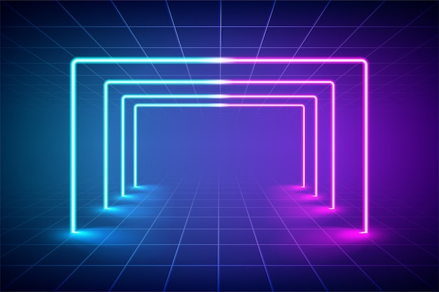 Abstract futuristic blue and pink neon light background, reflective empty room with neon tube