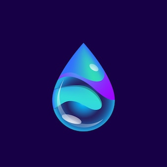 Abstract futuristic blue waterdrop vector illustration