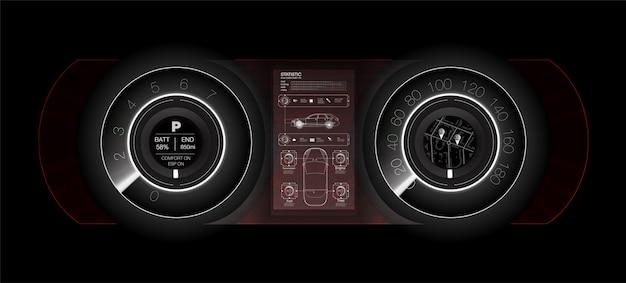 白の抽象的な未来的な車のダッシュボード、未来の車のダッシュボードの概念。