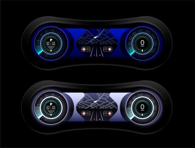 흰색, 미래 자동차 대시 보드의 개념에서 추상 미래의 자동차 대시 보드.