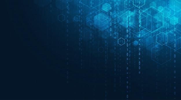 추상 미래의 회로 보드 및 육각형, 하이테크 디지털 기술 및 엔지니어링, 진한 파란색 배경에 디지털 통신 개념.