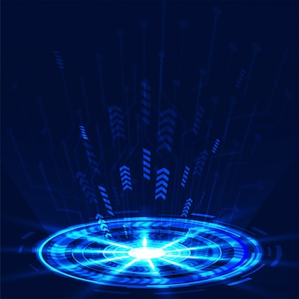Abstract futuristic circuit board on blue background