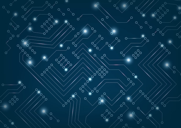 Abstract futuristic circuit board on dark blue background.
