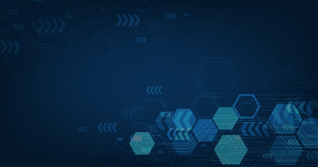 Abstract futuristic circuit board and hexagons, hi-tech digital technology and engineering, digital telecom concept on dark blue color background.