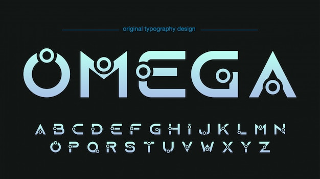 Abstract futuristic custom typography design
