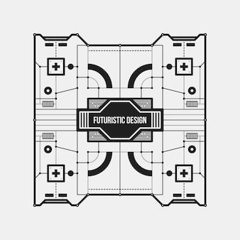 추상 미래형 디자인 요소 템플릿입니다. 과학 포스터 및 하이테크 미디어에 유용합니다. 흰 배경에 고립.