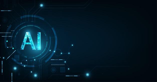 진한 파란색 배경에 추상 미래의 디지털 및 기술. 회로 설계를 사용한 ai (artificial intelligence) 문구.
