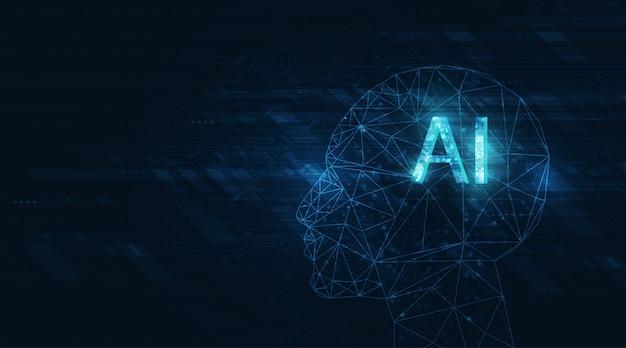 진한 파란색 배경에 추상 미래의 디지털 및 기술. 회로 설계를 이용한 ai (artificial intelligence) 표현.
