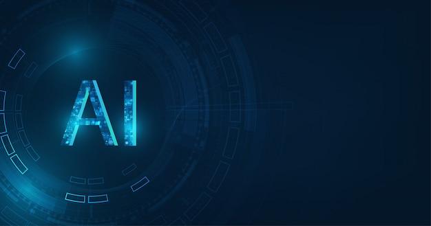 진한 파란색 배경에 추상 미래의 디지털 및 기술.