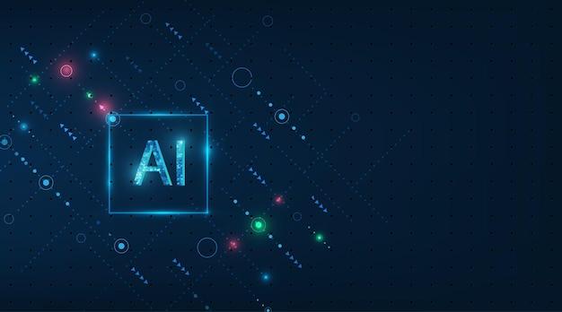 진한 파란색 배경에 추상 미래의 디지털 및 기술 프리미엄 벡터