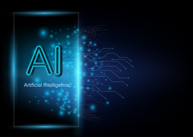 Abstract futuristic and digital background with an artificial intelligence wording.