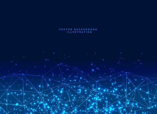 Абстрактный футуристический цифровой сети частиц банер фон