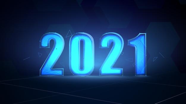 Абстрактный футуристический шаблон цифровых технологий на 2021 год.