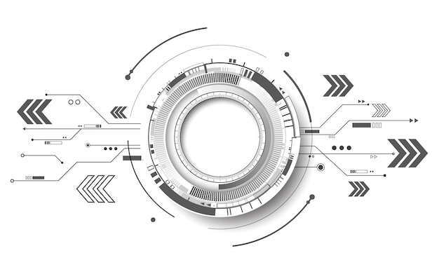 Концепция предпосылки абстрактной футуристической технологии радиотехнической схемы белая, иллюстрация
