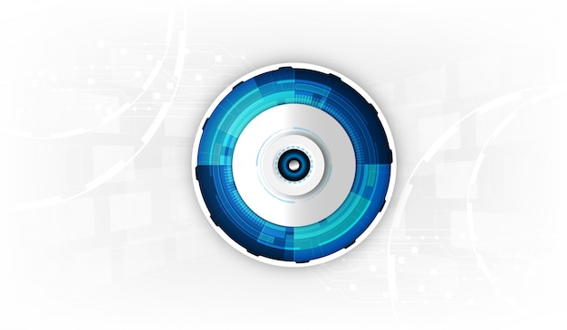 Abstract futuristic eyeball on circuit board, high computer technology