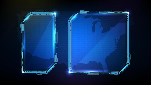 Абстрактная футуристическая рамка из синих светящихся технологий научно-фантастической иллюстрации кадра