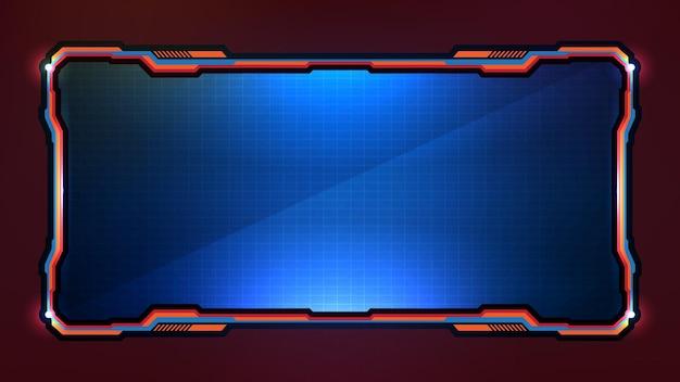 青い光る技術の抽象的な未来的なフレームsfフレームイラスト