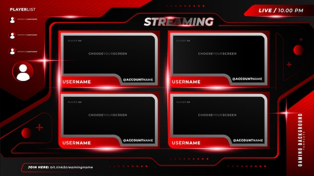 Abstract futuristic gaming background for multiple twitch live streaming