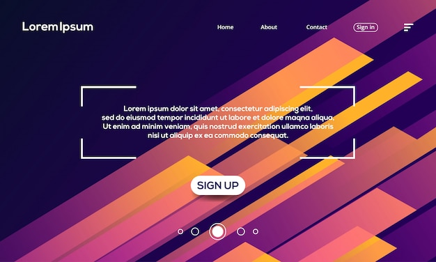 Abstract futuristic geometric background landing page template