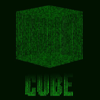 Abstract futuristic green background with cube in matrix style